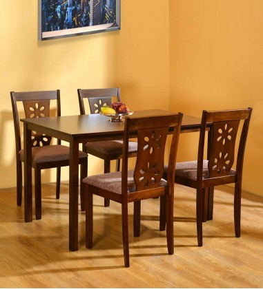Solid Wood 4 Seater Dining Set in Antique Cherry Finish online shopping in India