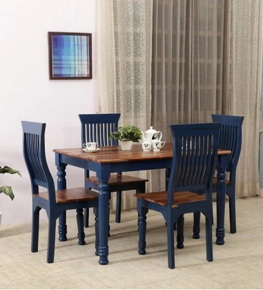 Custom Houzz Aphria 4 Seater Dining Set In Blue & Natural Finish