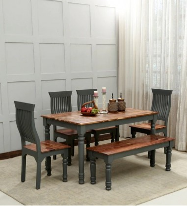 Custom Houzz Aphria 6 Seater Dining Set With Bench In Grey & Natural Finish