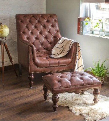 Custom Houzz Abderus Lounge Chair With Footstool in Vintage Brown Colour