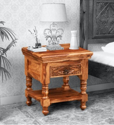 Buy Custom Houzz  Solid Wood Night Stand in Rustic Teak Finish Online