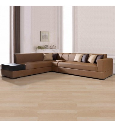 Buy Custom Houzz Alden Leatherette LHS Sofa With Console In Brown Online